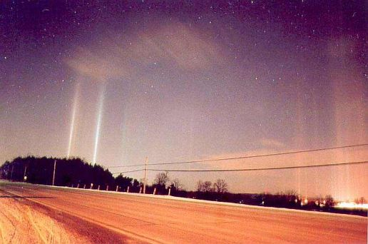 light pillars near Toronto, Canada