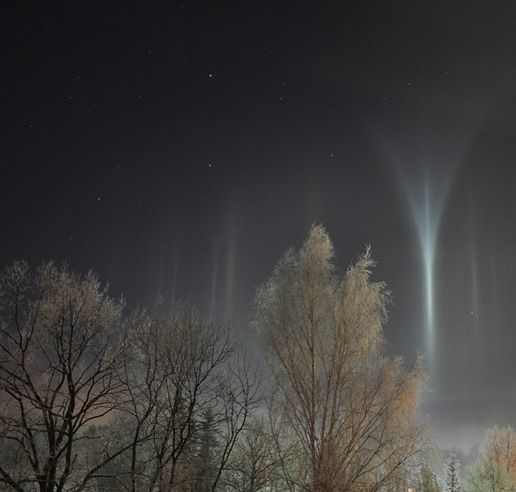 light pillars in Latvia